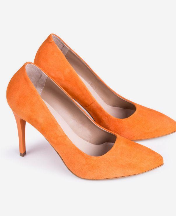 Pomarańczowe zamszowe czółenka na szpilce 1898-Z093