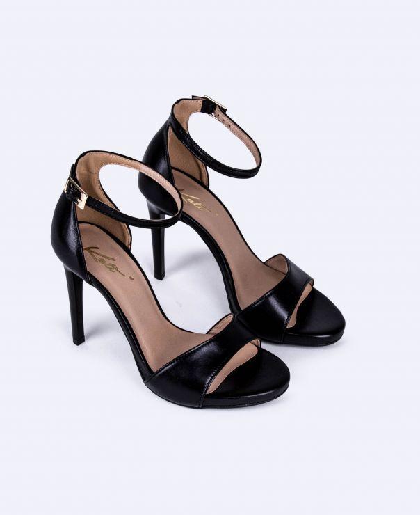 Czarne sandałki na szpilce 3073-K045