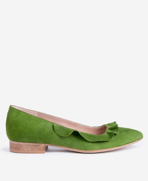 Zielone balerinki z falbanką  4001-Z086